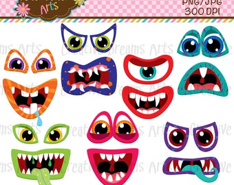 40% Off! Scary Monster faces Clip Art Instant Download