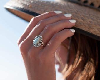 Larimar Ring ~ Statement ~ Gemstone ~ Semi Precious Stone ~ Blue ~ White ~ Natural ~ Organic ~ Sterling Silver 925~Tear Drop~Thin Band~MR020