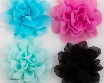 10cm 14 Colors Big Fluffy Chiffon Flowers For Baby Girls Hair Accessories Artificial Fabric Flowers For Headbands