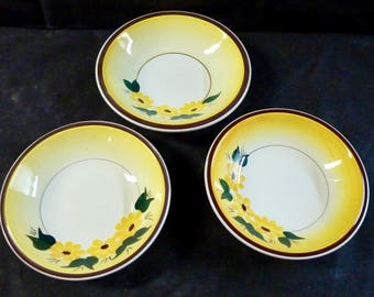 Vernon Kilns Bowls Three Brown Eyed Susan Fruit Bowls Ultra Shape Number 838