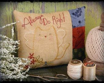 Always do right cat angel embroidery Pattern PDF - kitty flowers