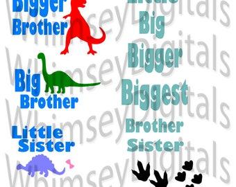 Big Brother - Bigger Brother - Little Sister, Sibling SVG, Dinosaur SVG, Digital Download Cut File, Vinyl Cutting Design, MTC