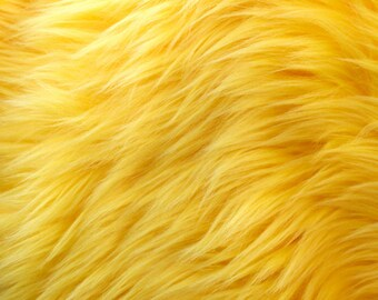 Yellow Pile Luxury Shag Faux Fur Fabric by the yard for costumes, coats, vests, home and studio use