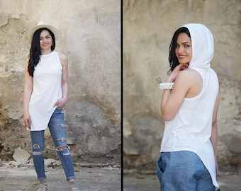 White Top, Minimalist Top, White Summer Top, Minimalist Clothing, Hooded Top, Boho Top, Festival Top, Asymmetrical Top, Sleeveless Top