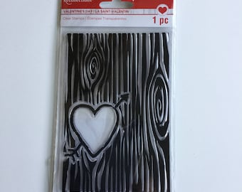 Recollections Valentine/Love Heart Carved into Tree Clear Stamp Set #450325 - Brand New, Never Used - Perfect for Cards, Scrapbooking Pages