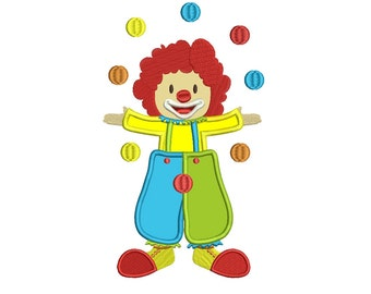 Circus Clown Juggling Balls Applique Machine Embroidery Digitized Design Pattern  - 4x4 , 5x7, 6x10 -hoops