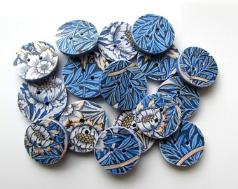 William Morris buttons - Handmade - Tulip and Willow design - blue buttons - Made in Australia - Unique buttons - fashion - stylish - blue