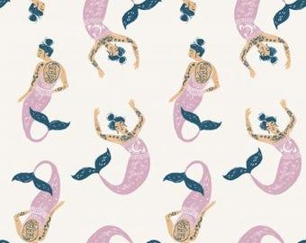 Dear Stella Mermaids in Marshmallow Fabric