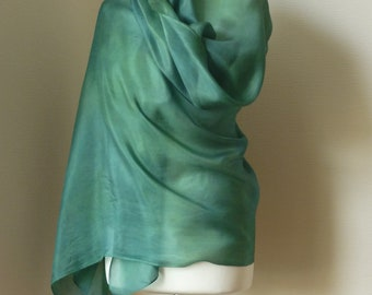 green shawl green silk shawl green wrap green silk wrap eco wrap naturally dyed wrap hand dyed wrap gold silk wrap TerraLenta
