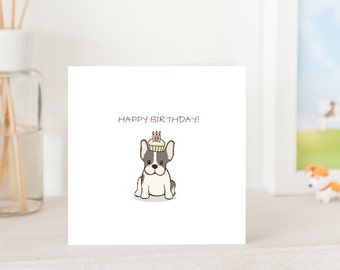 Dog Birthday Card - Blue and White French Bulldog with Birthday Cupcake and Candles on head, Frenchie Birthday Card,  Frenchie lover card