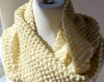 Off White Undyed Wool Scarf Pure Wool Scarf Offwhite Mens Wool Scarf Wool Infinity Scarf Natural Wool Scarf Knit Mens Scarf White Loop Scarf