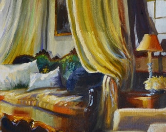 ART Print of CANAPÉ FRANÇAIS, French interior, gold and yellow, beautiful sitting room, painting of lounge