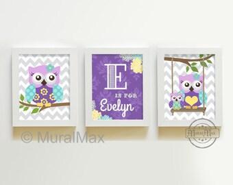 Baby Girl Owl Art Nursery Decor  -  Nursery art Set of 3 Prints- Baby Girl Nursery Purple and Aqua Nursery Decor - Owl Decor for Girl Room