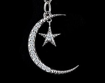 Diamond Moon And Star Necklace, White Gold Crescent Moon Pendant, Gold Diamond Moon Jewelry, Diamond Star Necklace, Cable Chain Lobster