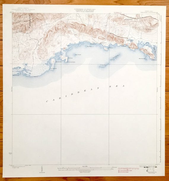 Antique Parguera Puerto Rico 1938 US Geological Survey