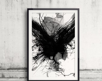 Black Raven, Black And White Raven Art Print, Raven Poster, Raven Print, Raven Art, Bird Lover, Raven Painting, Black Bird Goth, Home Decor