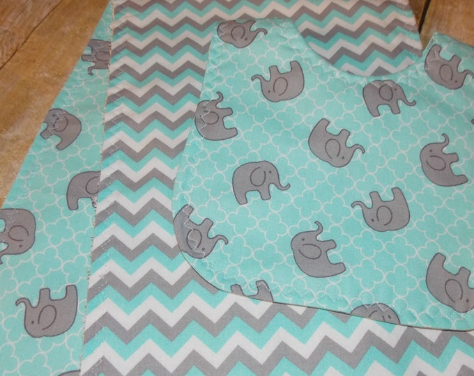 Burp bib set -  Elephant print  -   Aqua and grey burps bib -  unisex burp cloths - baby gift - baby shower gift - Burp cloth set - burp bib
