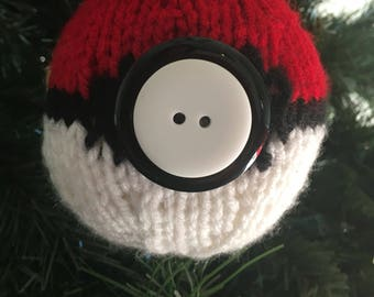 Pokemon pokeball knitted Christmas ornament with buttons, Pokemon go