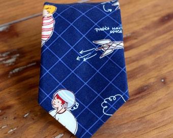 Boys cotton rocket necktie, boy's navy blue rocket scientist neck tie, for baby infant toddler child preteen kid, little boy necktie, gift
