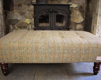 Harris Tweed Footstool - Skye Bracken Herringbone|Large Footstool| Footstool| Tweed Footstool| Ottoman| Buttoned Footstool| Coffee table