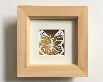 Miniature butterfly papercut, butterfly art, miniature art, spring inspired art, butterfly picture, framed papercut, paper art, spring decor