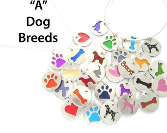 A Breeds Dog Pendant Sterling Silver Necklace, Pet Lover Gift, Animal Themed, Breed, Colorful Jewelry, Gift for Her, Dog Walker Gift