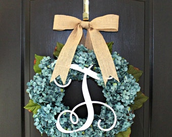 Hydrangea Wreath  Burlap  wreaths for door wreath Summer wreaths for door - Wreaths