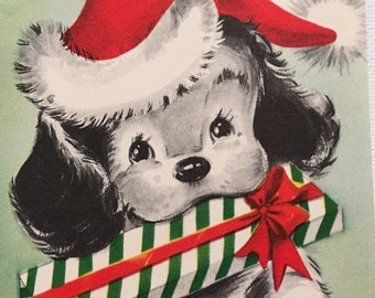 Vintage Christmas Card, Puppy with Present, Mid Century