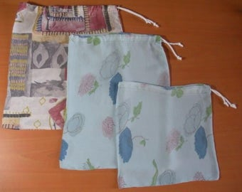 Three bags in bulk in cotton and polyester, for fruits and vegetables - reusable