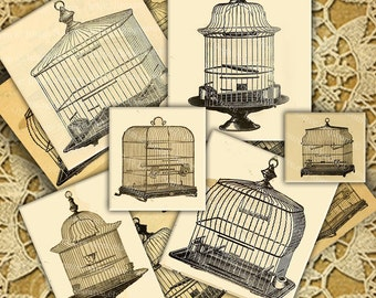 Victorian Bird Cags Illustrations, Digital Collage Sheet, Printable Download