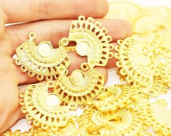 10 Pcs Gold Plated Tribal Pendant  27x33 mm, Gold plated Tribal charm -  Tribal pendant wih base - Aztec Pendants - tribal aerring