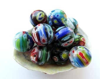 10pc Millefiori Glass Beads 14mm Colorful Beads Round Multicolor Glass Beads Craft Supplies Jewelry making (10)