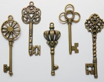 Skeleton key charm collection of 5 large keys Steampunk vintage inspired antique bronze COLL-L