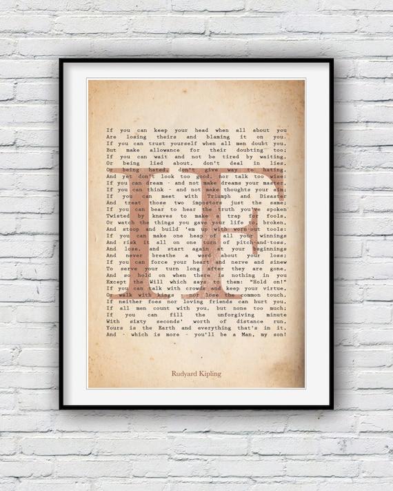 If Rudyard Kipling If Poem Poem Print Poster Wall Decor