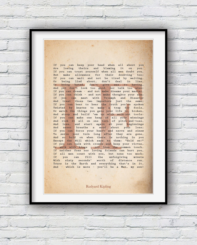 Si Rudyard Kipling Si Poème Poème Imprimé Poster