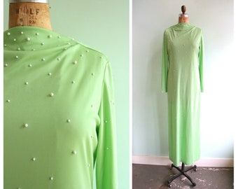 Vintage 1970's Mint Green Studded Dress and Pants | Size Small
