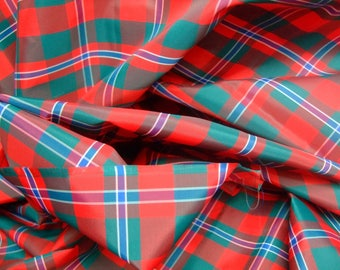 Blue green red Plaid nylon coupon * 1 1.50 m * old stock