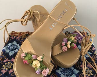 Women's Size 8.5 Vintage Lace Up Fairy Heels • Fairy Shoes • Floral Heels • Costume Shoes • Lace Up Heels