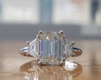 GIA 2 3/4 Carat Emerald Diamond Engagement Ring, Platinum Diamond Ring, Platinum Engagement Ring, Emerald Cut Engagement Ring, 3 stone ring