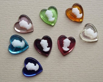 Vintage cameo heart glass cabochons