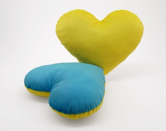 Light Blue and Yellow Team Spirit Hug Heart Shaped Pillow 12x14 inches