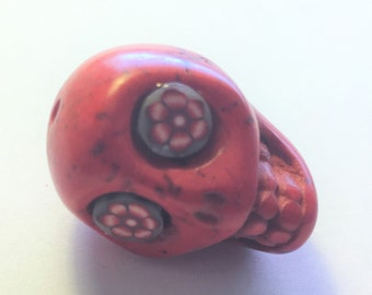 Extra Large Sugar Skull Bead Red Day of the Dead Skull Wild Flower Eyes