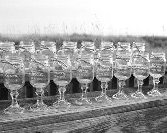17 Mason jars, 8 Redneck Wine Glasses ,9 mason jar mugs, Wedding Party, mason jars,