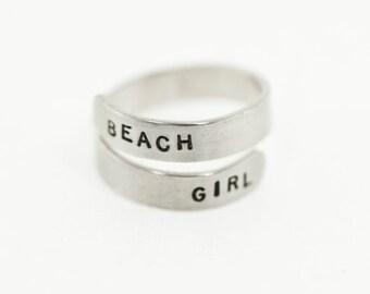 Sterling Silver Stamped Wrap Ring, Beach Girl, Vitamin Sea, Mermaid Love, Beach Jewelry, Ocean Jewelry
