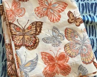 Vintage 1970's Burlington Orange and Brown Butterflies Full Flat Sheet - butterfly sheet, Burlington full sheet, full sheet
