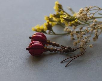 SALE Bohemian Earrings, Natural Red Dangle Earrings, Howlite Jewelry, Nature Inspired, Boho Jewelry, Boho Earriings
