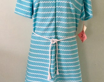 1960s Plus Size Dress/Plus Size/New Old Stock/Vintage Dress/Teal   ~SALE~