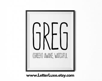Greg Name Meaning Art - Printable Baby Shower Gift - Nursery Printable Art - Digital Print - Nursery Decor - Typography Wall Decor