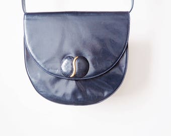 Vintage blue leather handbag-80 Bally s