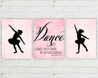 ballerina wall art print | pink bedroom decor | pink girls room | ballerina nursery art | dance like no one is watching | girls room decor